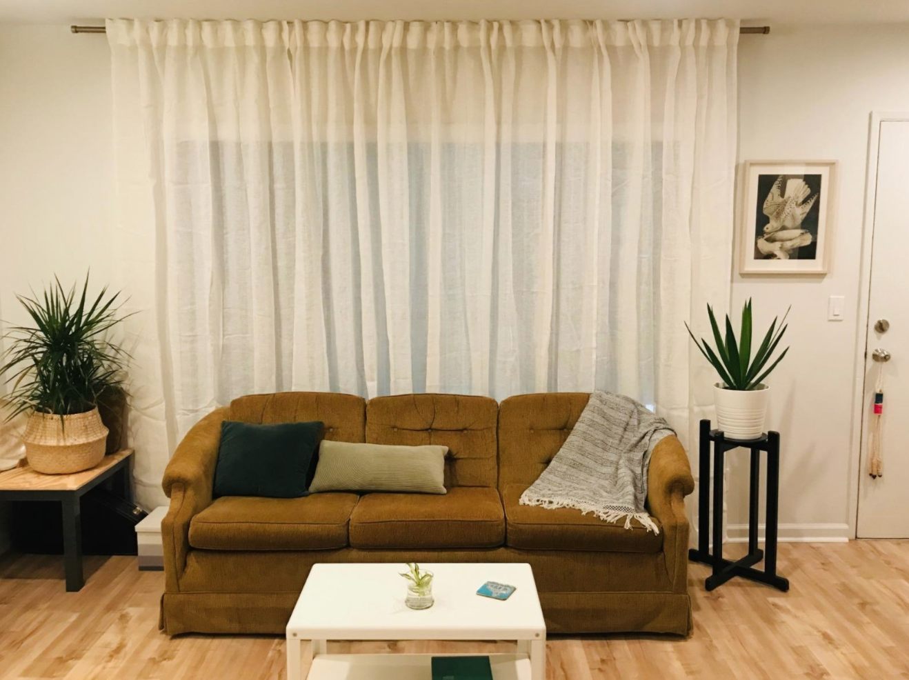 A reviewer's living room with the curtain rod