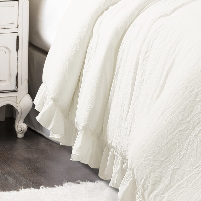 The bedding with ruffled shams