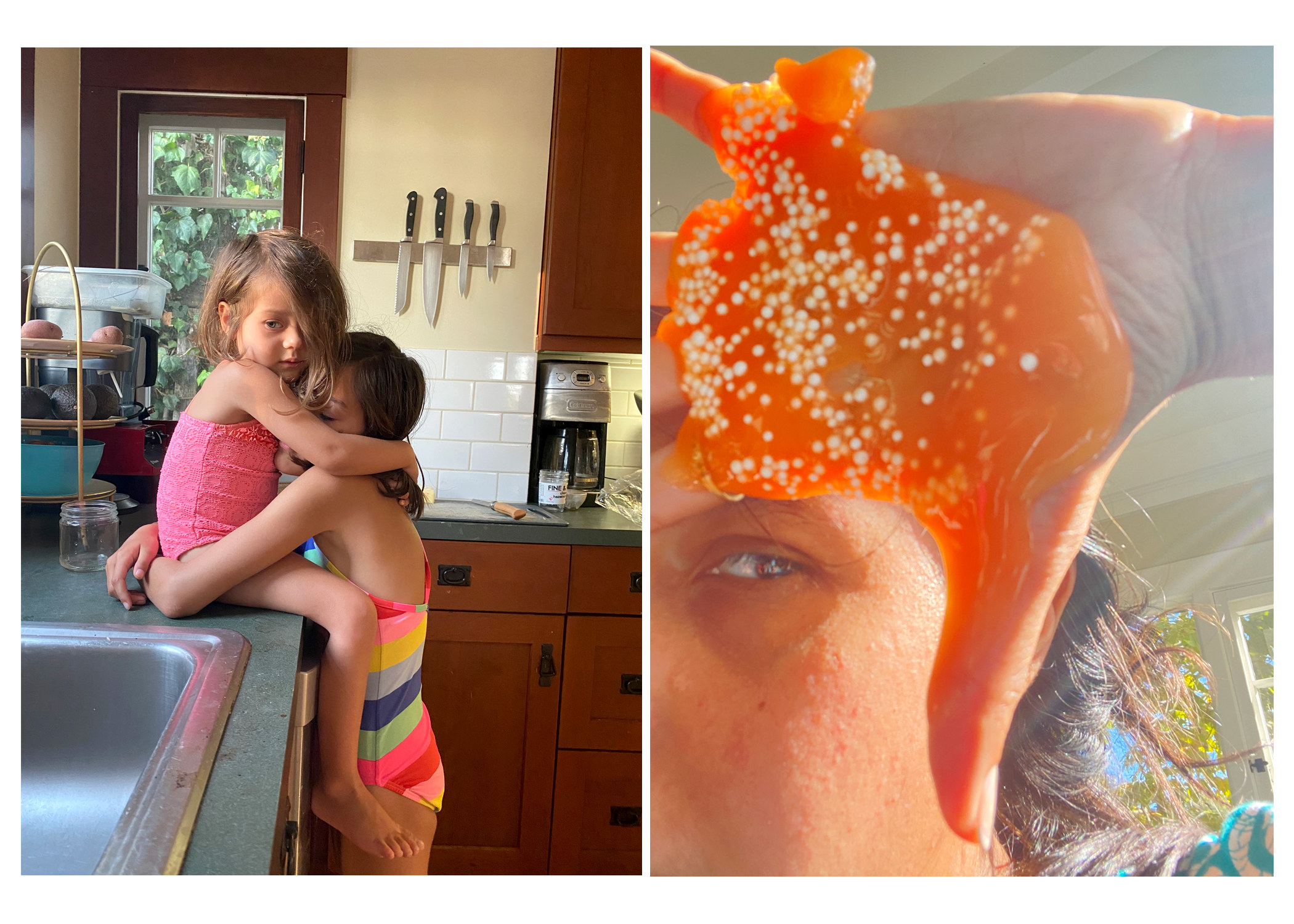 Two images side by side; on the left: a girl sitting on a kitchen counter embraces another older girl who is standing; on the right: a woman holds up her hand covered in slime toward the camera