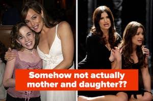 """Christa B. Allen and Jennifer Garner, and Idina Menzel and Lea Michele, labeled """"Somehow not actually mother and daughter??"""""""