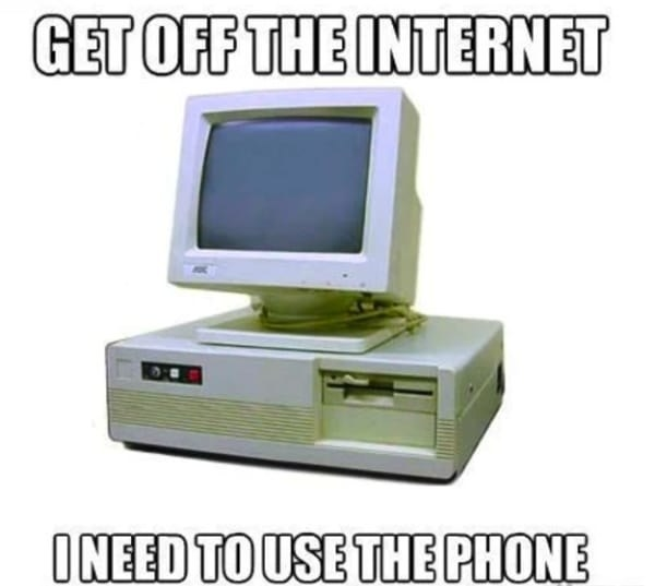 meme that says get off the internet i need to use the phone
