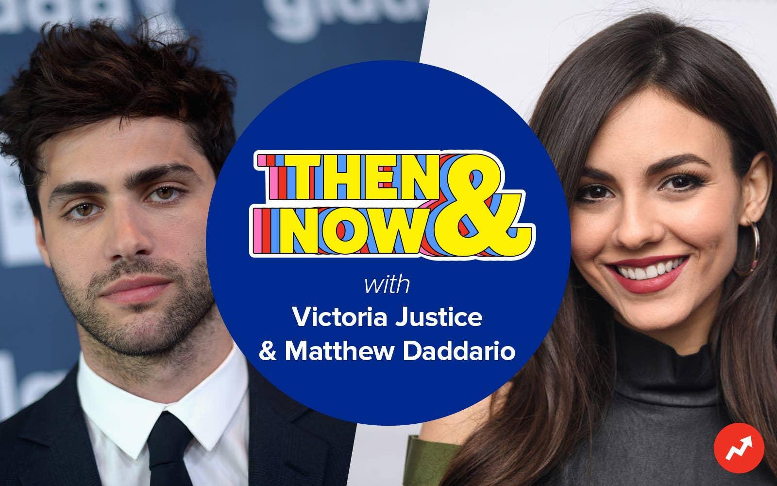 Then & Now logo with Matthew Daddario and Victoria Justice