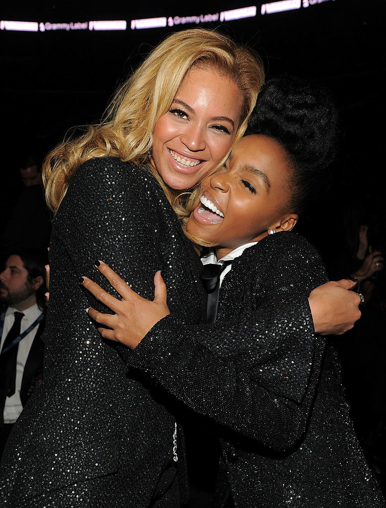 Janelle and Beyoncé hugging