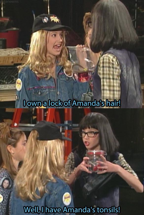 Penelope Taynt holds Amanda's tonsils in a jar