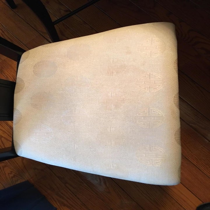 After: the while chair, its upholstery cleaned