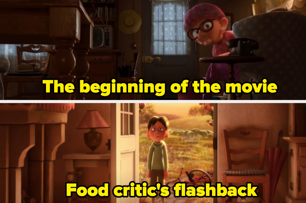 """Old lady in the beginning of """"Ratatouille"""" sitting in a chair and the food critic, Anton Ego in a flashback scene."""