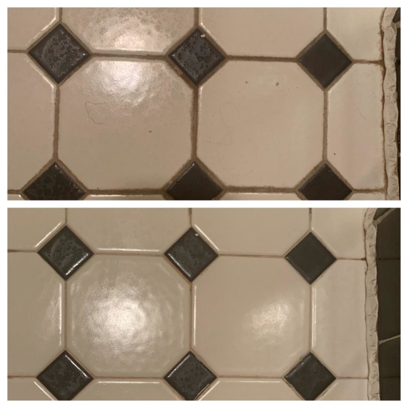 A before and after of tile with dirty grout, and tile with the grout cleaned