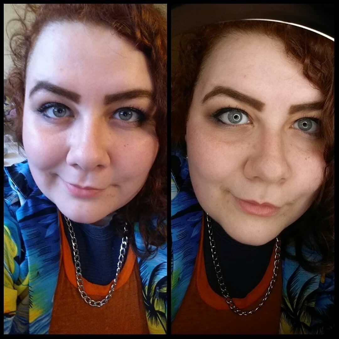 Left: a photo without the ring light; right: a more even photo with the ring light