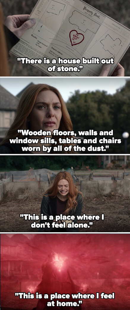 """Wanda looks at the map and cries as the song says, """"There is a house built out of stone, wooden floors, walls, and window sills, tables and chairs worn by all the dust, this is the place where I don't feel alone"""""""