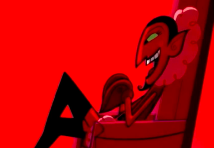 """HIM from """"The Powerpuff Girls"""" sitting in a chair"""