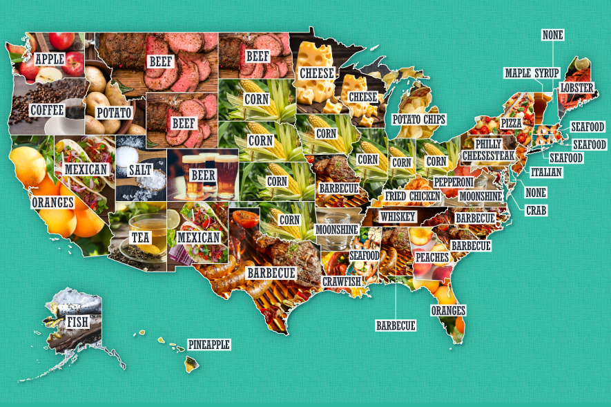 Map with stereotypical food and drink from each state