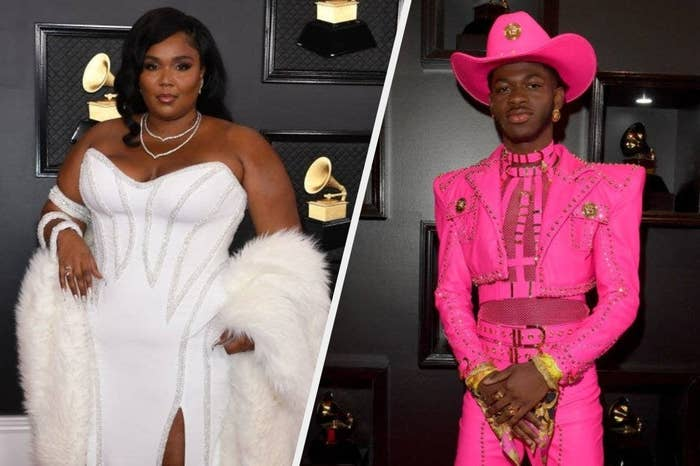 On the left, Lizzo in a white dress at the 2020 Grammys; on the right, Lil Nas X in a hot pink cropped suit.