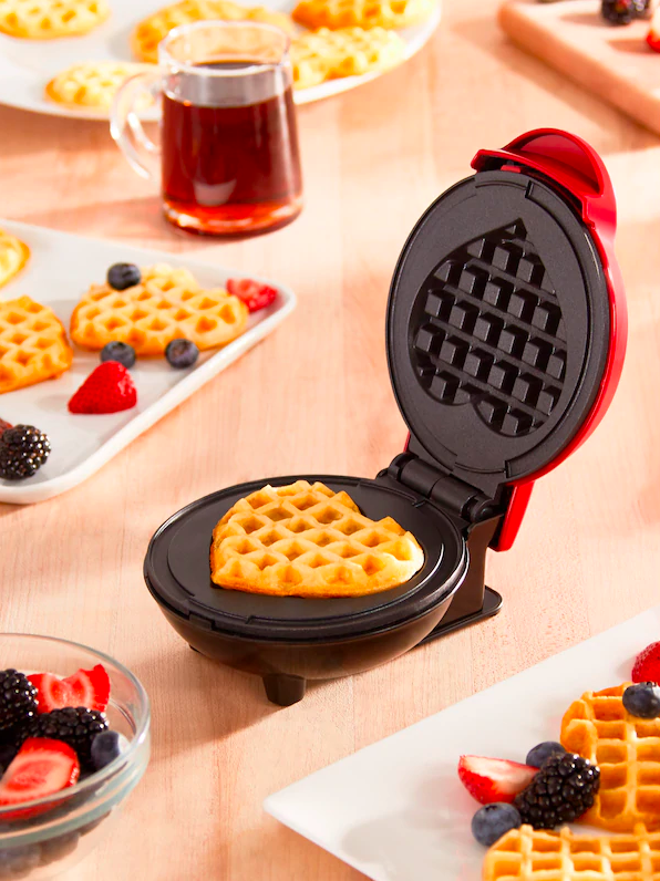 A heart-shaped waffle in the waffle maker