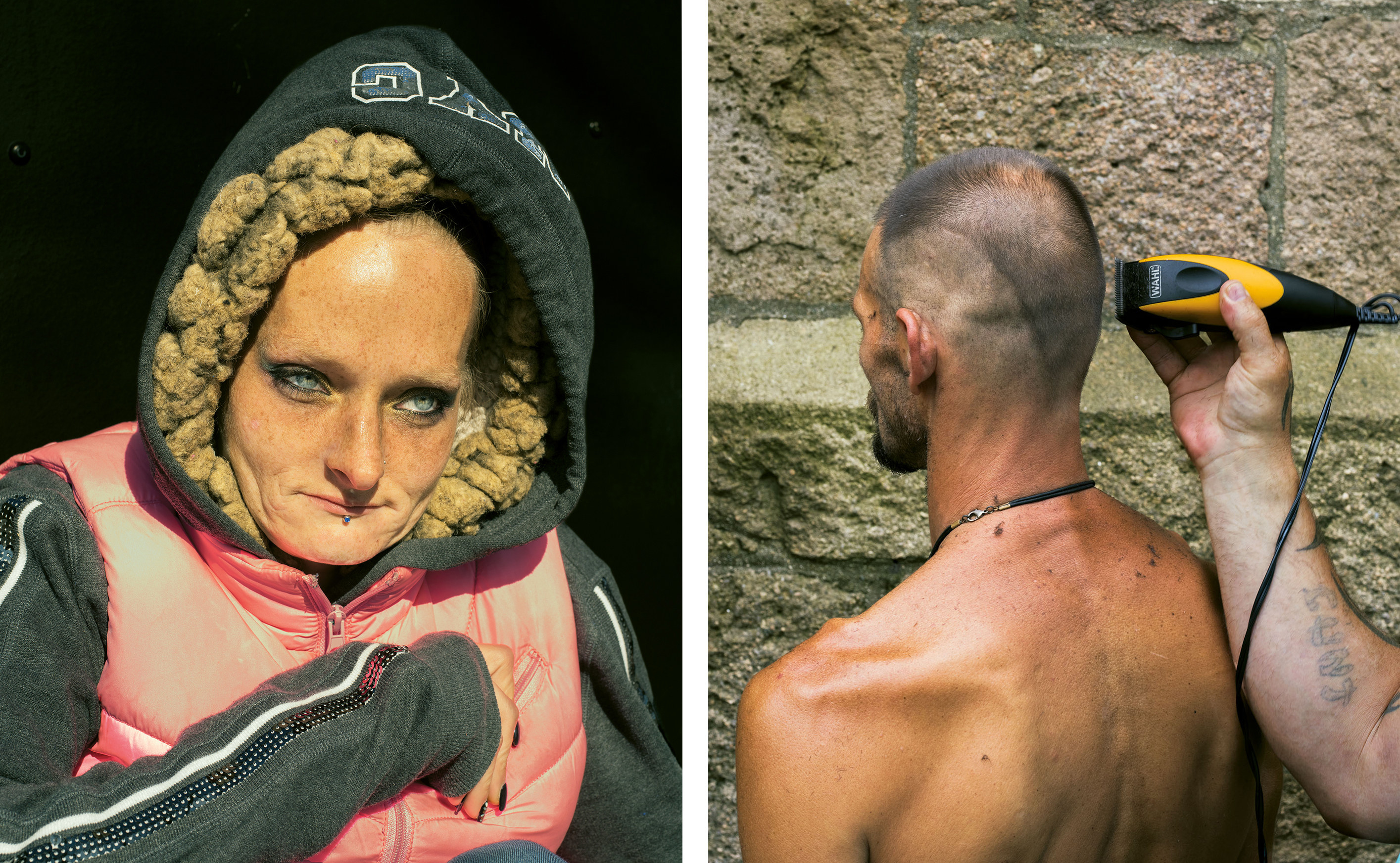 A woman in a hoodie and a man getting his head shaved