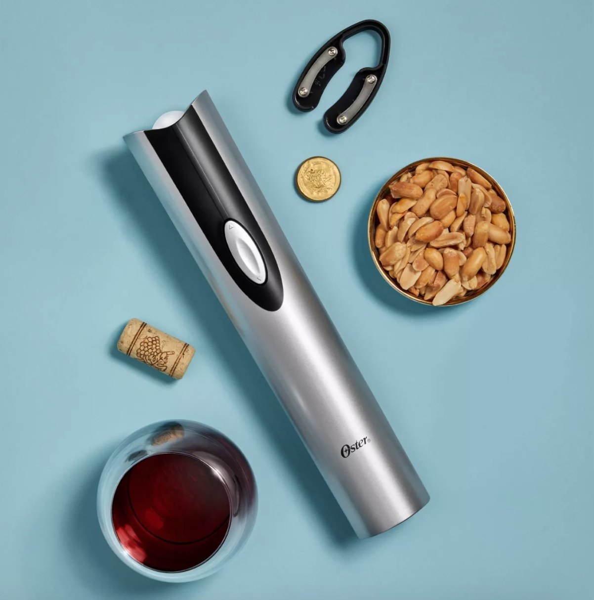 Silver electric wine opener