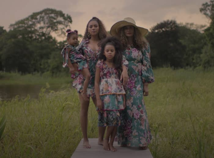 Beyoncé, Blue Ivy, Tina Lawson, and Rumi in matching dresses in a still from the Brown Skin Girl music video