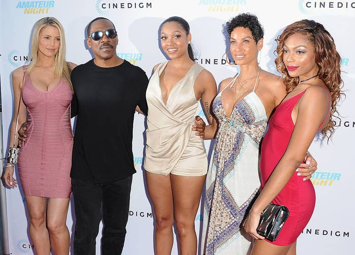 """Paige Butcher, Eddie Murphy, Bria L. Murphy, Nicole Mitchell Murphy, and Shayne Audra Murphy arrive at the Los Angeles premiere of """"Amateur Night"""" at ArcLight Hollywood on July 25, 2016, in Hollywood, California"""