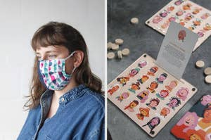 A person wearing a cloth face mask over their nose and mouth, A wooden board game called Guess Who
