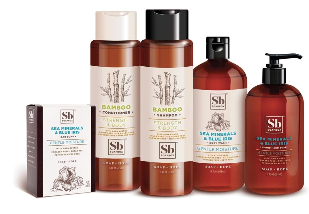 Soapbox bundle with shampoo, conditioner, body wash, hand wash, and bar soap.