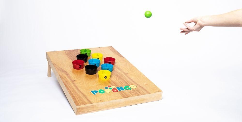 1 Board, 9 cups, 10 balls.