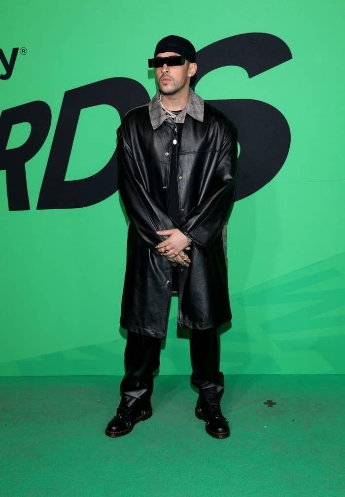 Bad Bunny attends the 2020 Spotify Awards in an all-black look