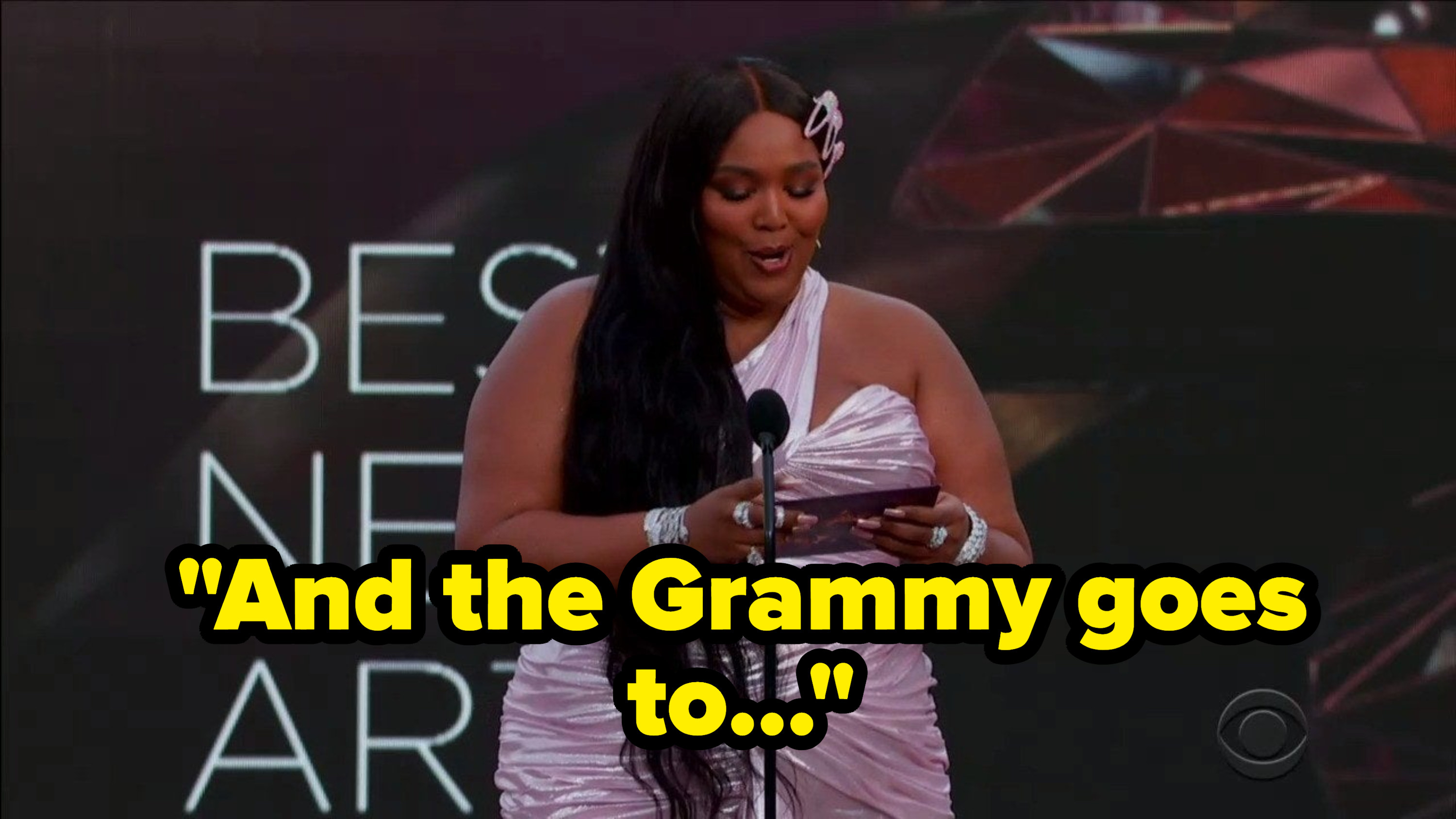 """Lizzo saying, """"And the Grammy goes to..."""""""
