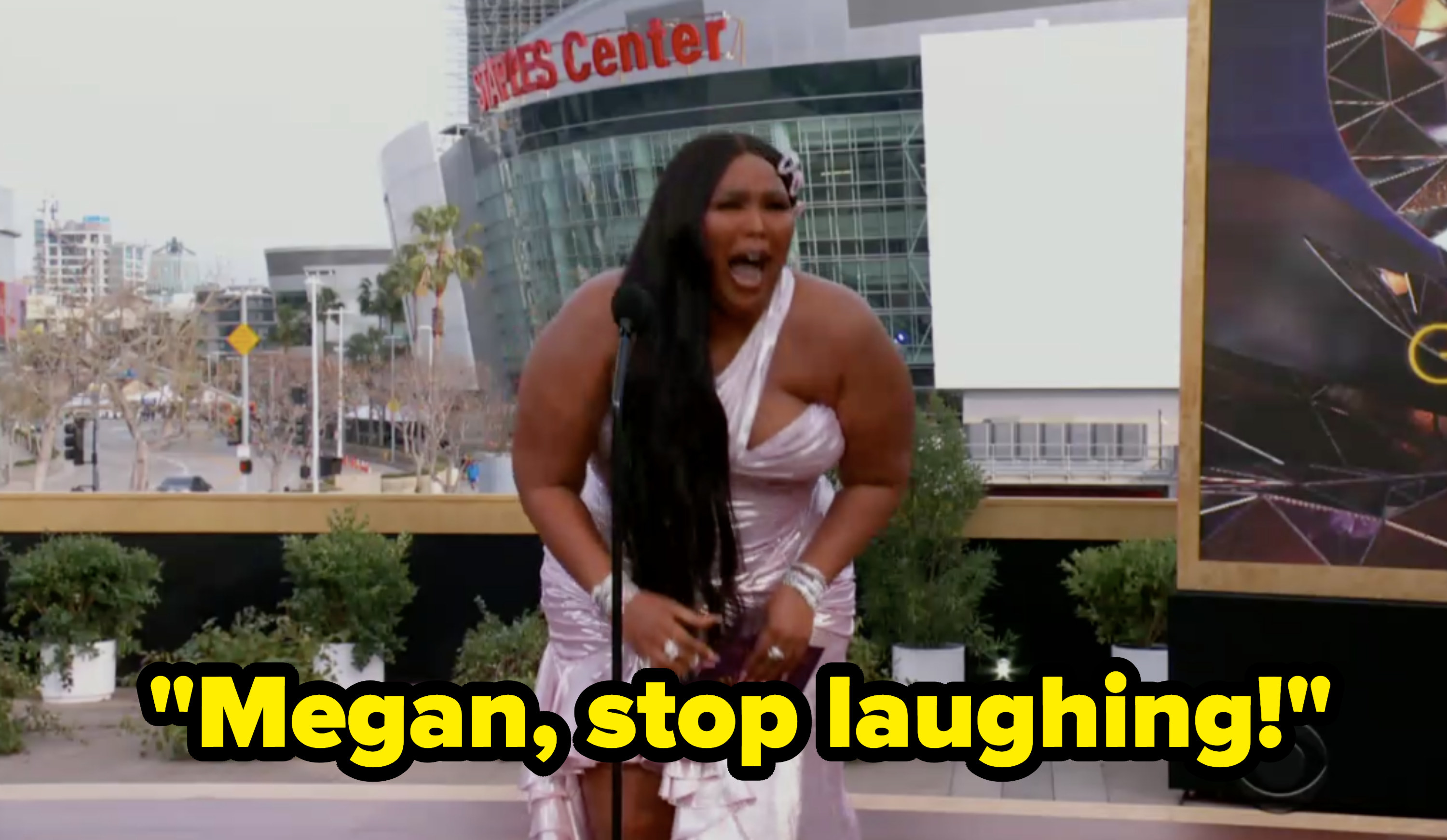"""Lizzo said """"Megan, stop laughing"""" as she looked into the crowd"""