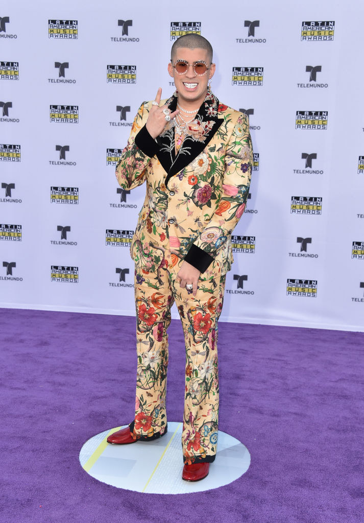 Bad Bunny wears a floral-print suit to the 2017 Latin American Music Awards