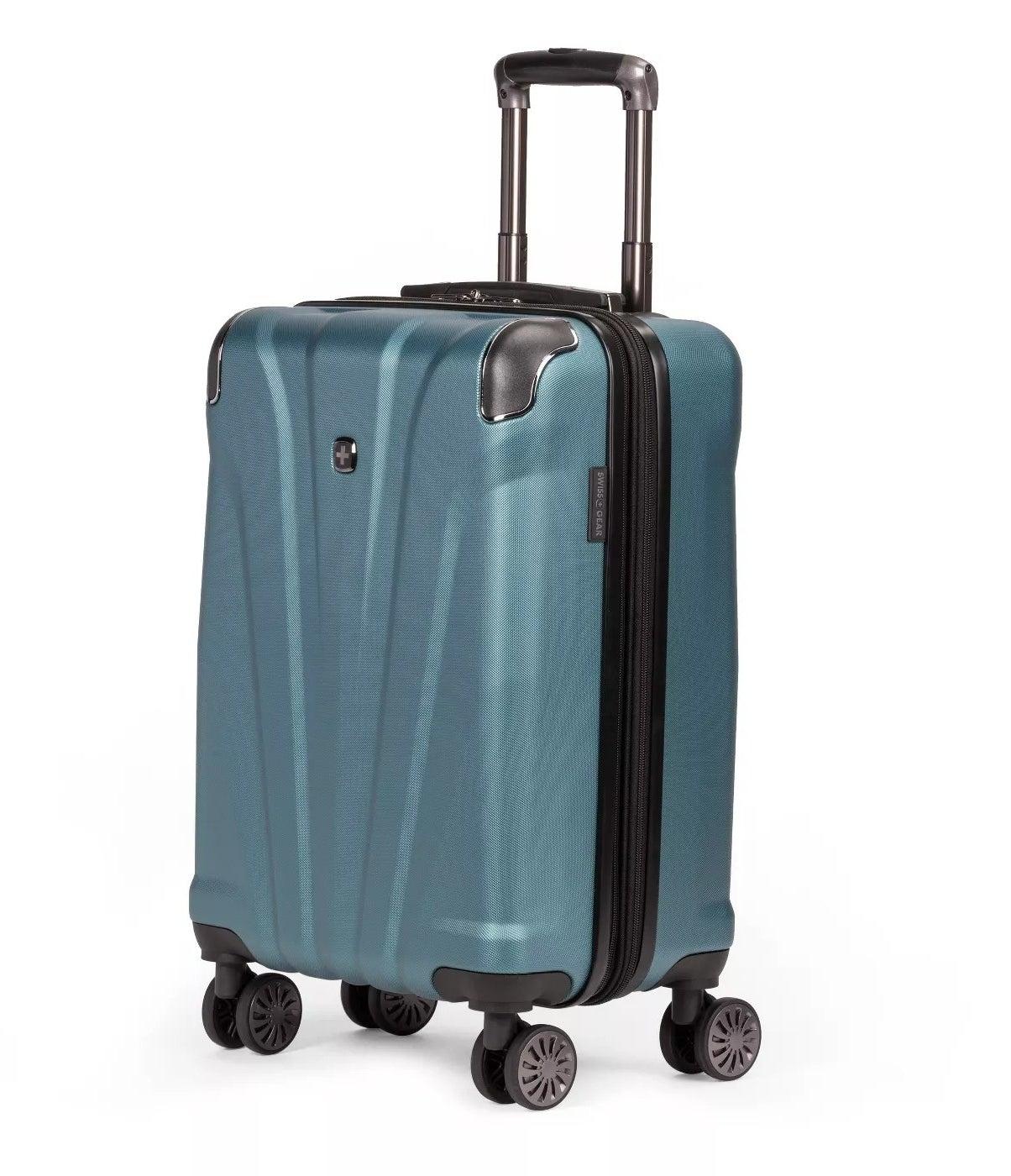 The blue Swissgear suitcase