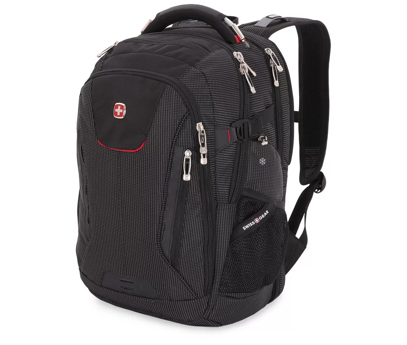 The black Swissgear backpack