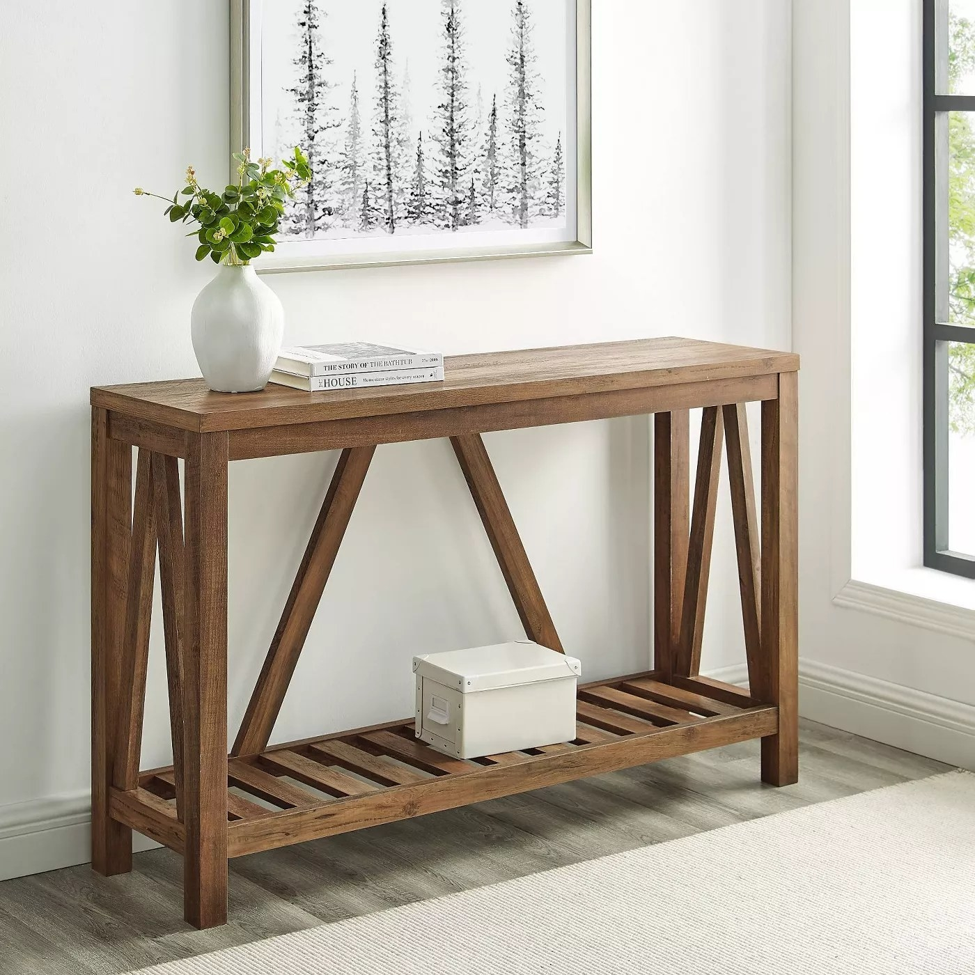 The rustic oak console table