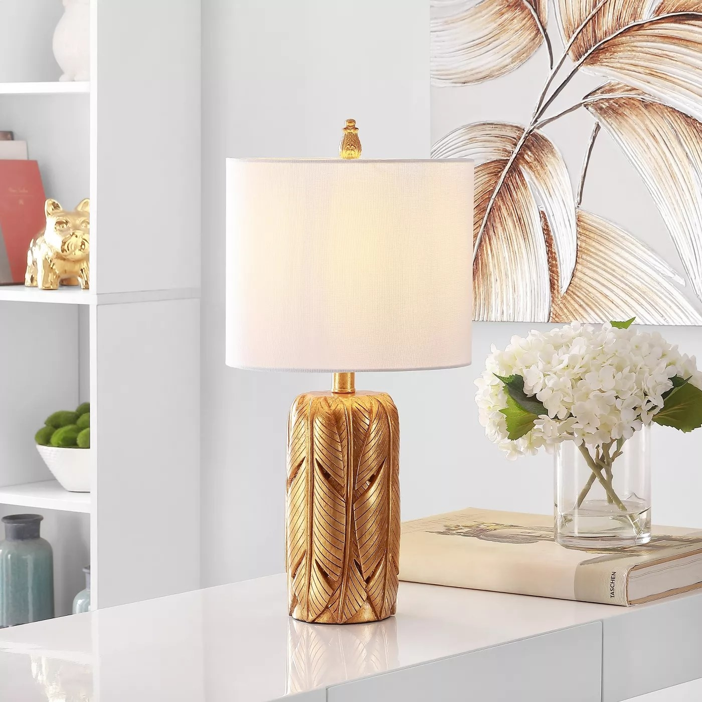 The gold table lamp