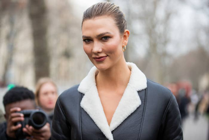 Karlie Kloss outside during Paris Fashion Week in February 2020
