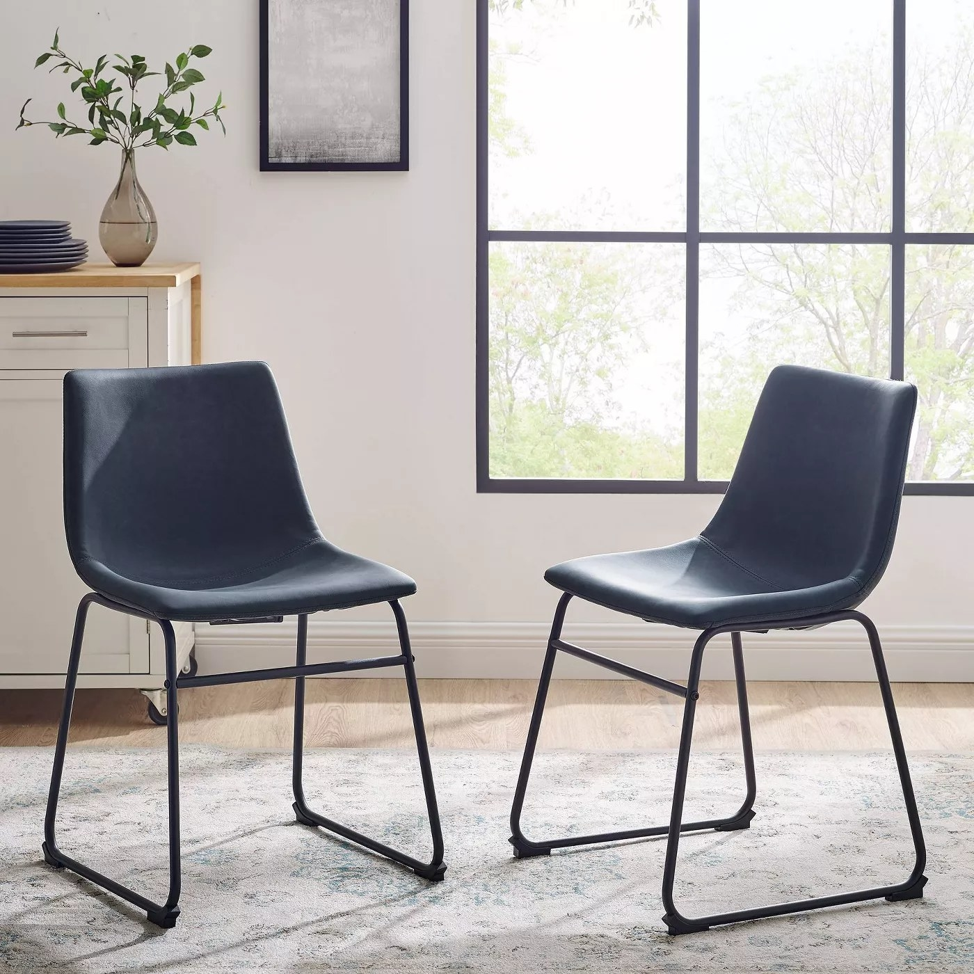The navy blue dining chairs