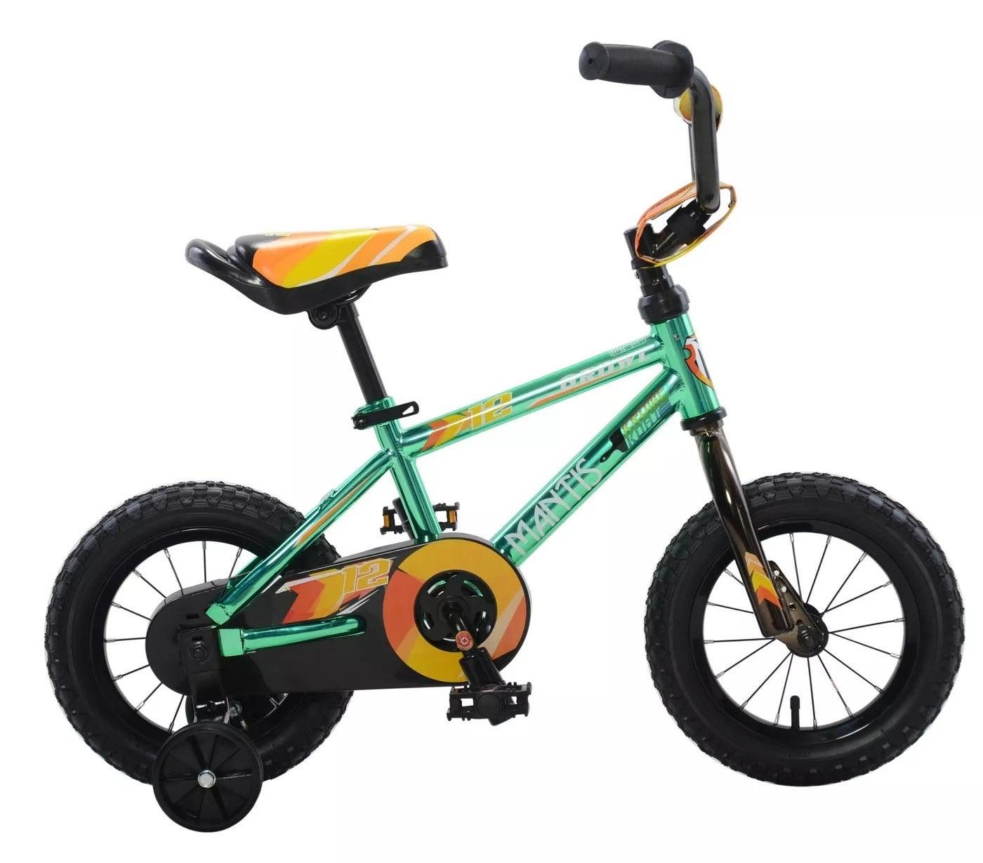 The green, orange, and yellow Mantis kids bike with training wheels