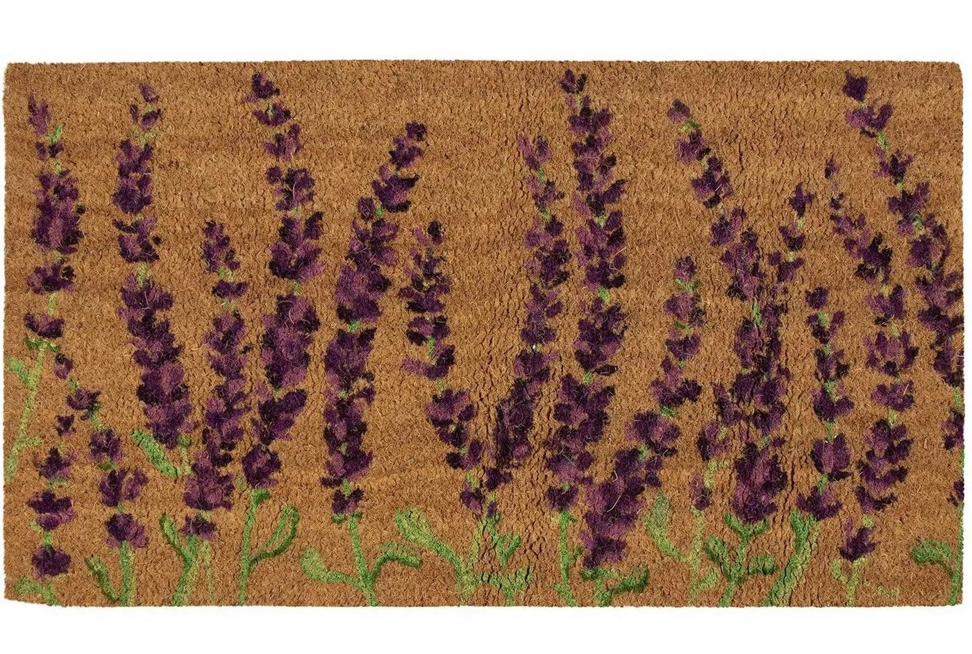 The brown doormat with a lavender flower design
