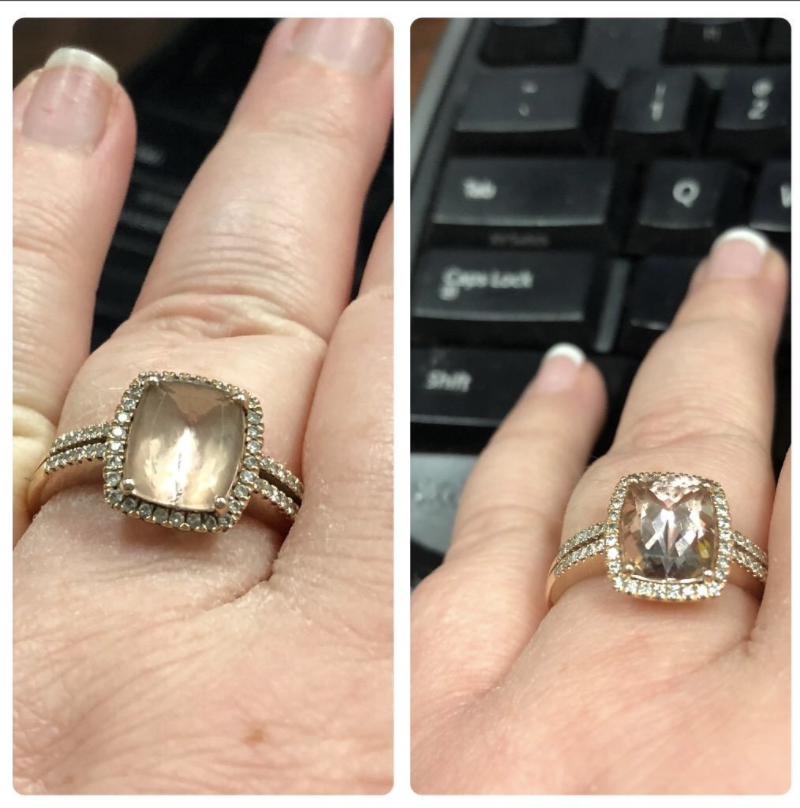 reviewer pic of a clouded jewel ring, then it looking extremely clear after cleaning