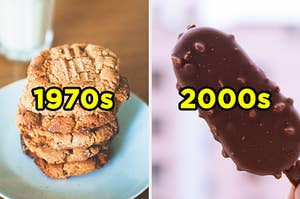 """On the left, some peanut butter cookies labeled """"1970s,"""" and on the right, a chocolate ice cream bar labeled """"2000s"""""""