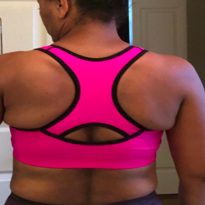 Back of reviewer's sports bra to show wide racerback