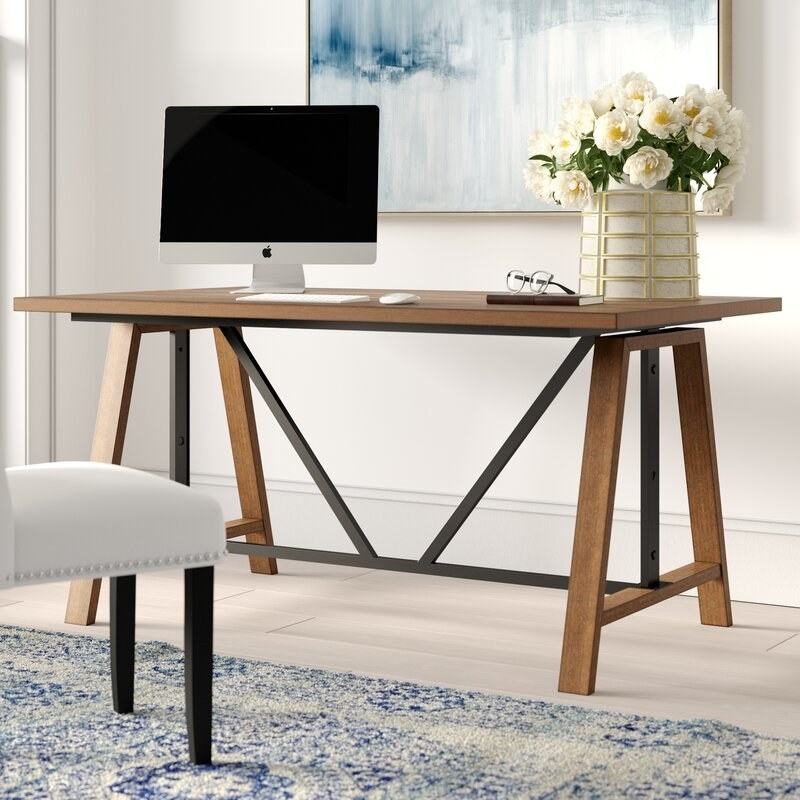 the industrial wood and metal desk