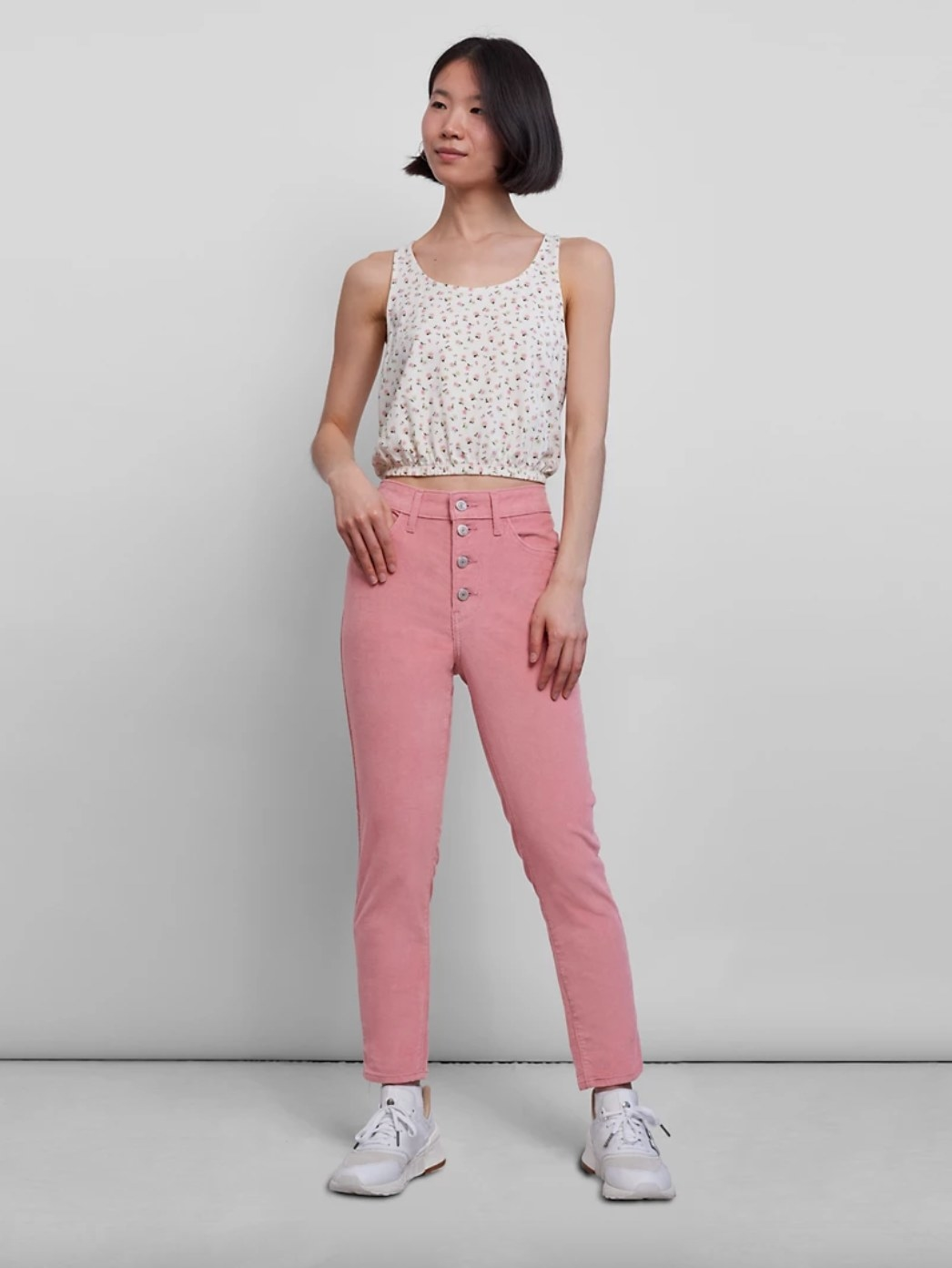 The pair of high rise jeans in blush