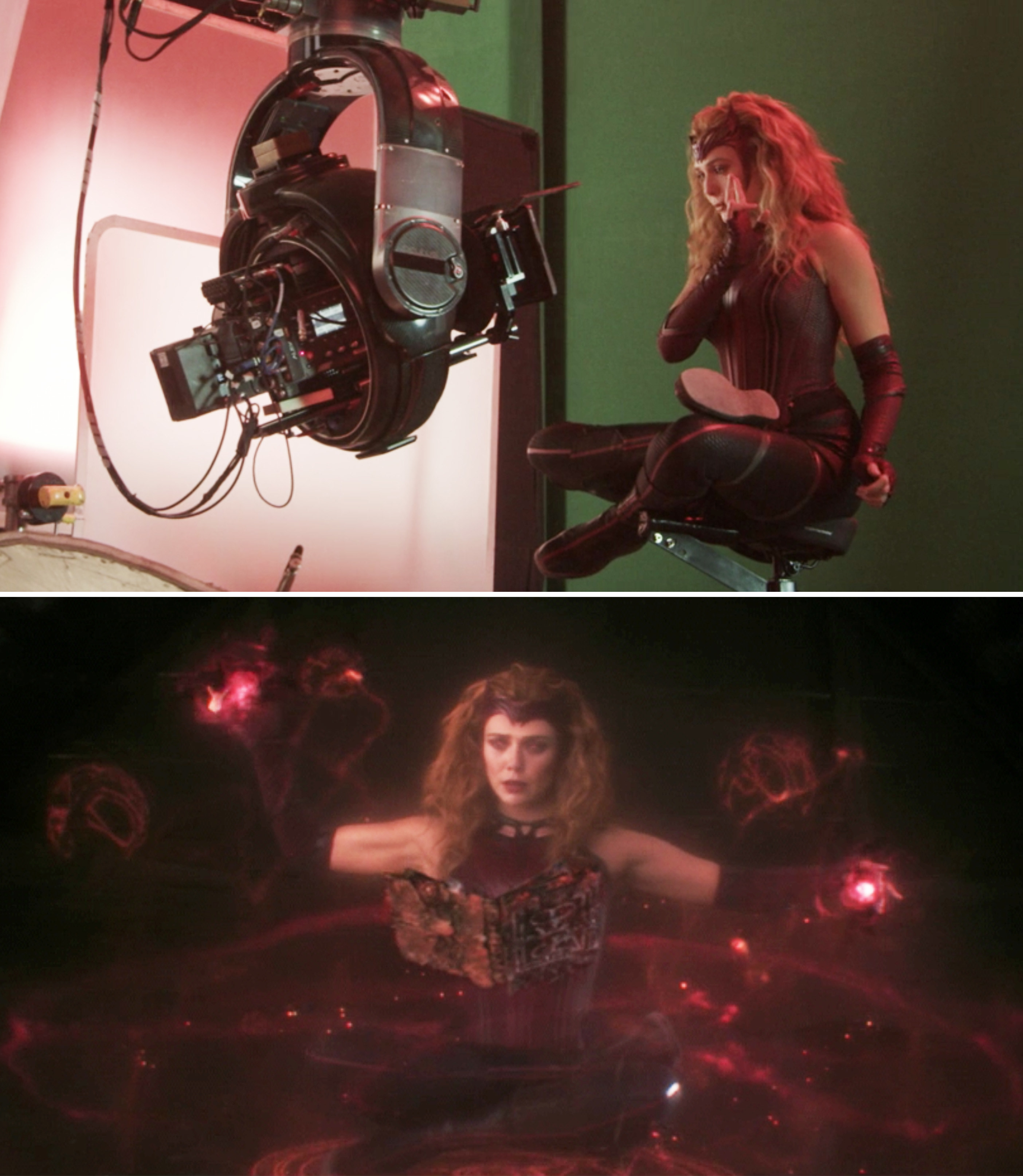 Elizabeth Olsen on a green screen vs the final shot with visual effects