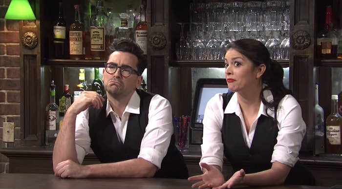 Dan Levy and Cecily Strong as bartenders in an SNL skit