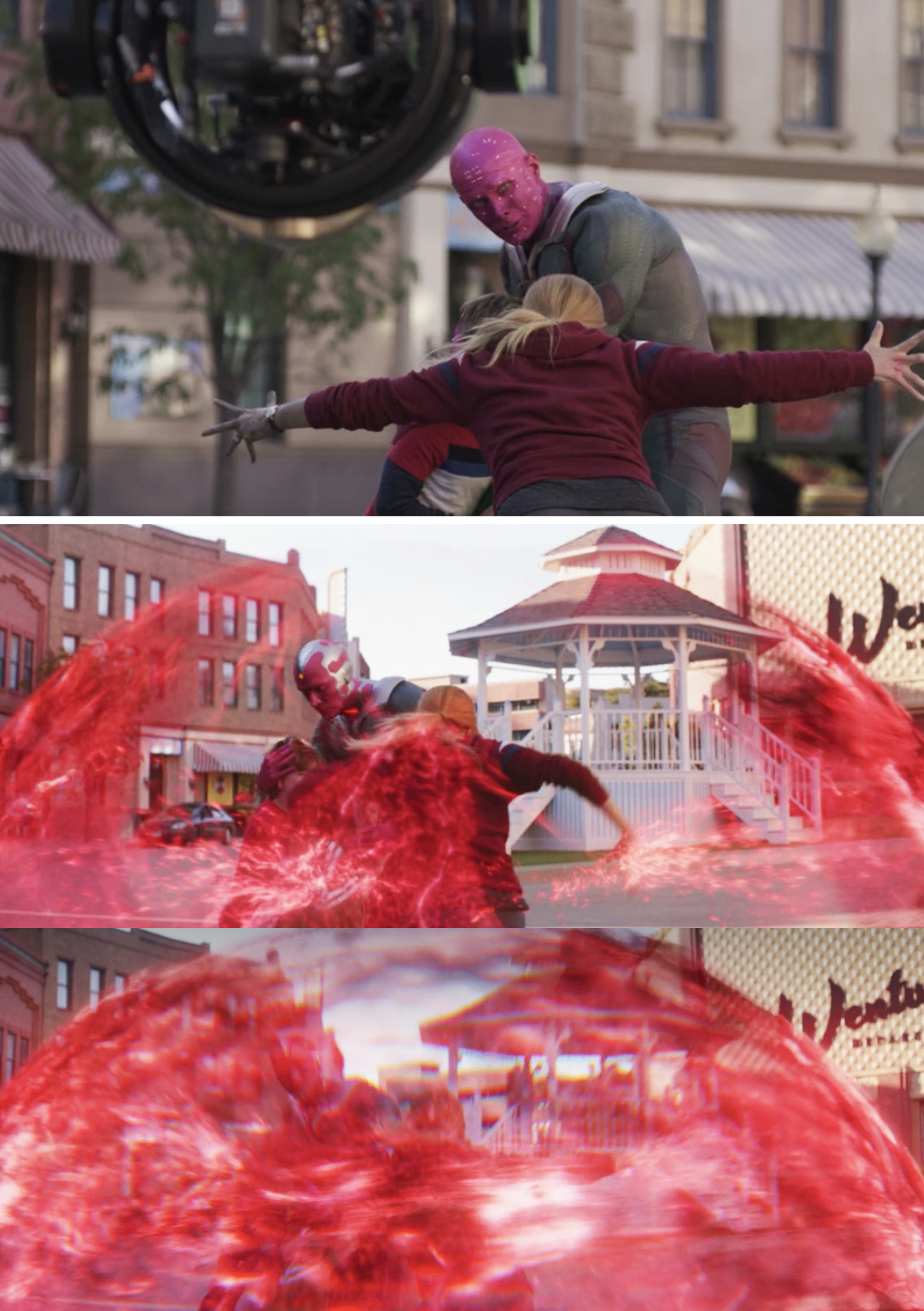 Wanda creating a force field before and after visual effects
