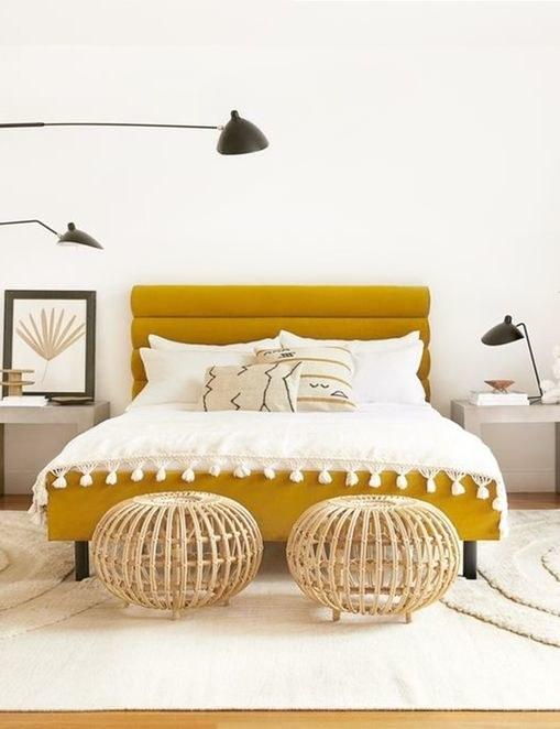 the bed in yellow velvet
