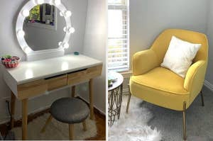 light up vanity on the left and yellow chair on the right