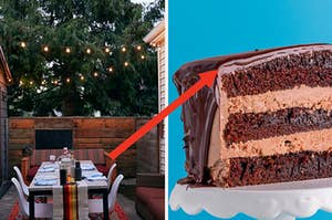 An outdoor patio area and a three layer chocolate cake slice.