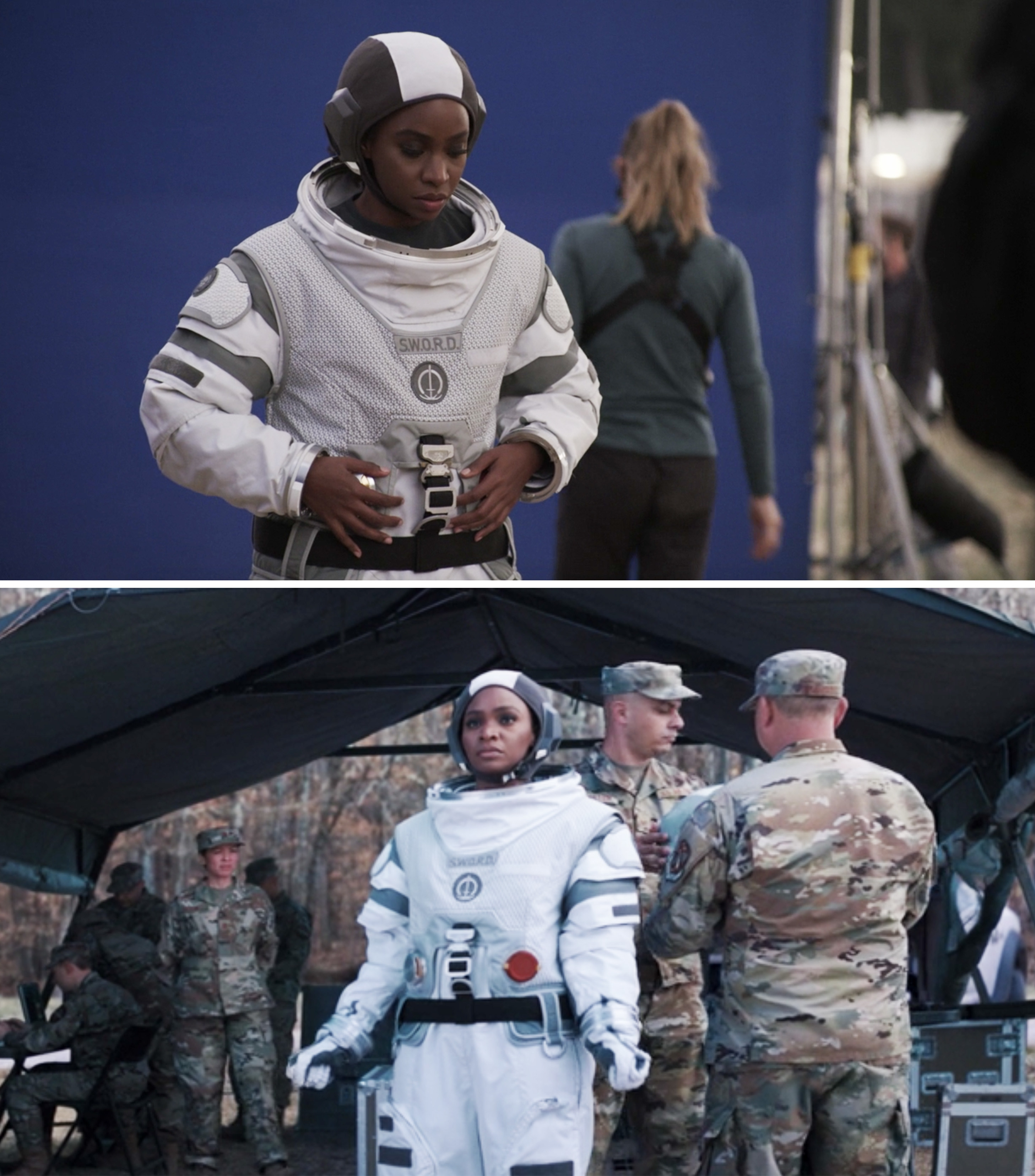 Teyonah Parris as Monica wearing a space suit and filming against a blue screen