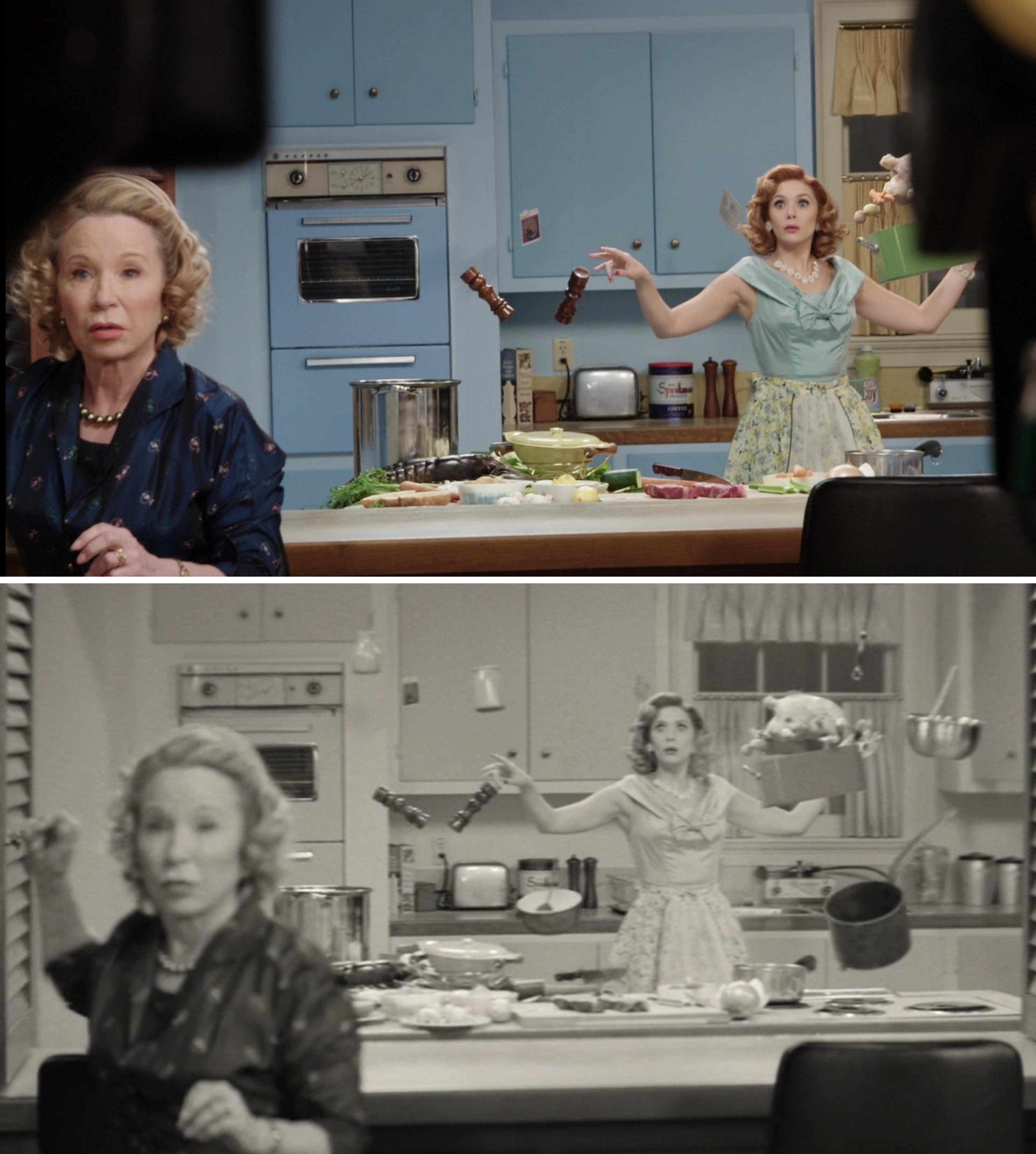 Elizabeth Olsen and Debra Jo Rupp filming a scene when Wanda has floating objects in the kitchen