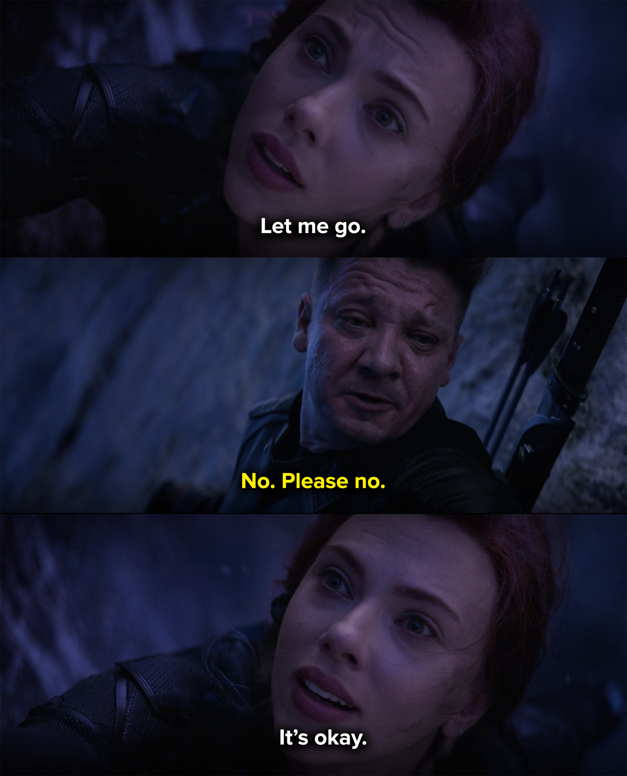 Natasha tells Clint to let her be the one to die to get the infinity stone